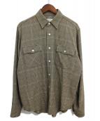 CELINE(セリーヌ)の古着「19AW スモールチェックシャツ」|ブラウン