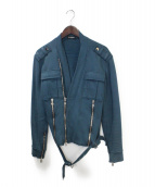 BALMAIN(バルマン)の古着「スウェットライダースジャケット」|ブルー