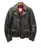 Lewis Leathers(ルイスレザース)の古着「×COMME des GARCONS ライダースジャケット」 ブラック