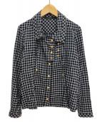 ()の古着「金ボタンチェックシャツ」 ブルー×ホワイト