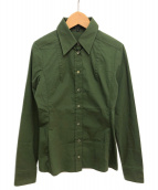()の古着「ストレッチドレスシャツ」 グリーン