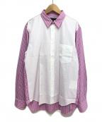 COMME des GARCONS Homme Plus(コムデギャルソン オムプリュス)の古着「切替ストライプシャツ」 ホワイト×ピンク