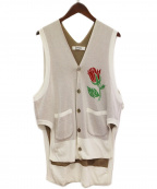 sulvam(サルバム)の古着「ローズニットベスト」|ホワイト×グレー