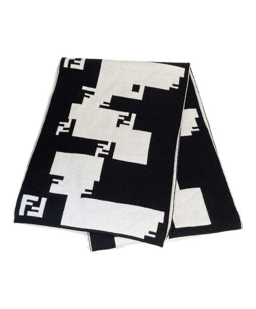 FENDI(フェンディ)FENDI (フェンディ) ズッカ柄マフラー ブラック×ホワイト サイズ:-の古着・服飾アイテム