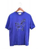 ()の古着「ホースプリントTシャツ」 ブルー