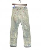 KAPITAL(キャピタル)の古着「ペイントデニムパンツ」|インディゴ