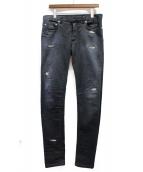 Dior Homme(ディオールオム)の古着「リペア加工スキニーニーンズ」|ブラック