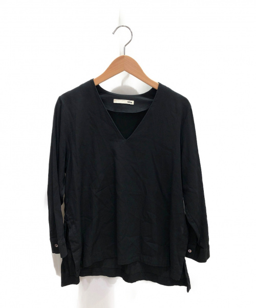 evam eva(エヴァムエヴァ)evam eva (エヴァムエヴァ) Vネックブラウス ブラック サイズ:-の古着・服飾アイテム