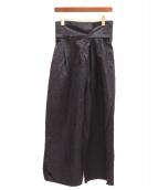 ENFOLD(エンフォルド)の古着「リネンワイドパンツ」 ネイビー