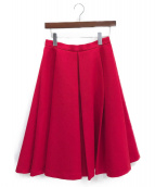 ENFOLD(エンフォルド)の古着「ハードアムンゼンボックスプリーツスカート」|レッド