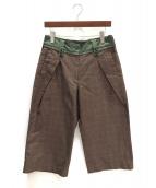 sacai(サカイ)の古着「グレンチェックワイドパンツ」|ブラウン×グリーン
