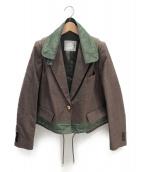 sacai(サカイ)の古着「グレンチェック素材切替ジャケット」|ブラウン×グリーン