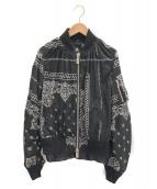 sacai(サカイ)の古着「バンダナ柄ボンバージャケット」|ブラック