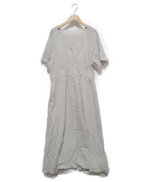 ROPE mademoiselle(ロペマドモアゼル)ROPE mademoiselle (ロペマドモアゼル) フレアスリーブVネックワンピース ライトグレー サイズ:38 未使用品の古着・服飾アイテム