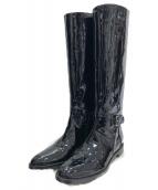 sergio rossi(セルジオロッシ)の古着「エナメルロングブーツ」|ブラック