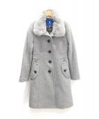 BLUE LABEL CRESTBRIDGE(ブルーレーベルクレストブリッジ)の古着「ラビットファー付きウールコート」 グレー