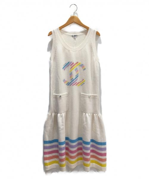 CHANEL(シャネル)CHANEL (シャネル) ノースリーブワンピース アイボリー サイズ:38 未使用品 カシミヤ100%の古着・服飾アイテム