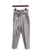 DRAWER(ドゥロワー)の古着「コットンタックベルトパンツ」 ライトグレー