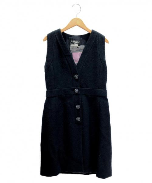 CHANEL(シャネル)CHANEL (シャネル) ノースリーブワンピース ネイビー サイズ:38の古着・服飾アイテム