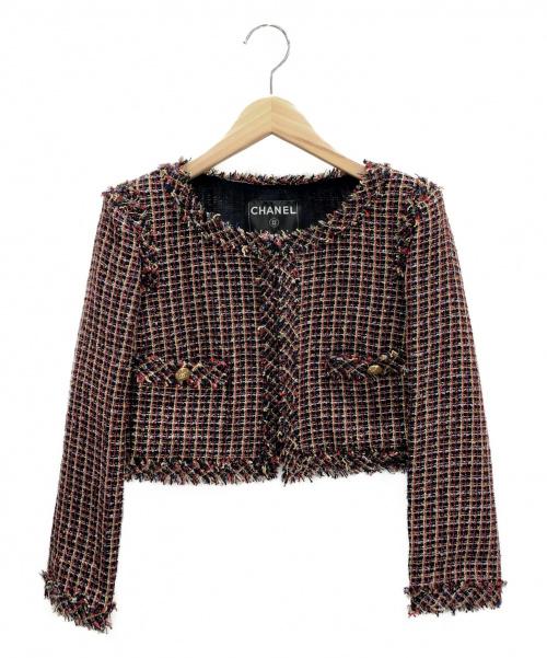 CHANEL(シャネル)CHANEL (シャネル) ショート丈ツイードジャケット レッド×ブラック サイズ:38の古着・服飾アイテム