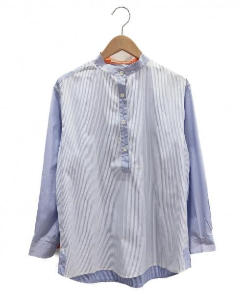 ETRO(エトロ)ETRO (エトロ) ストライプ切替バンドカラーシャツ ホワイト×ブルー サイズ:42の古着・服飾アイテム