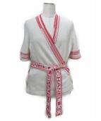 CHANEL(シャネル)の古着「カシミヤS/Sカシュクールニット」|ホワイト×ピンク