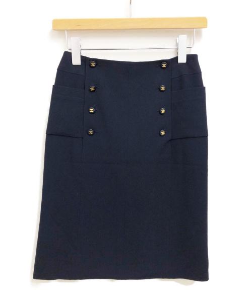 CHANEL(シャネル)CHANEL (シャネル) ココマークボタンスカート ネイビー サイズ:36 97Pの古着・服飾アイテム