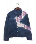 ()の古着「ワールウィンドタイダイデニムジャケット」|ブルー×ピンク