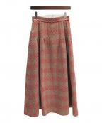 ELIN(エリン)の古着「フレアウールスカート」|ベージュ×レッド