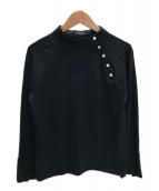BARNEYS NEWYORK(バーニーズ・ニューヨーク)の古着「パールハイネックカットソー」|ブラック