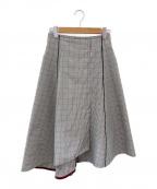 DES PRES(デプレ)の古着「コットン アシンメトリーフレアスカート」|ホワイト×ブラック
