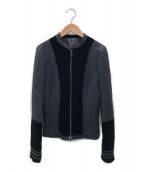 ()の古着「ベロア切替ジップアップジャケット」|ブラック