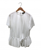 DRAWER()の古着「アシンメトリーヘムフレアショートスリーブカットソー」|ホワイト