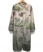Sybilla(シビラ)の古着「ノーカラーコート」 ライトピンク×グレー