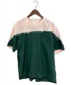()の古着「切替シャツ」 グリーン×ピンク