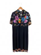 LEONARD(レオナール)の古着「半袖ワンピース」 ブラック