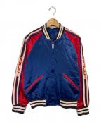 GUCCI(グッチ)の古着「アームロゴデザインリバーシブルキルティングジャケット」 ブルー×レッド