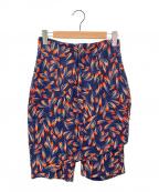 TOGA PULLA(トーガ プルラ)の古着「デザイン総柄レーヨンパンツ」|ネイビー×オレンジ