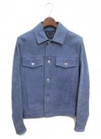 LOUIS VUITTON()の古着「レザートラッカージャケット」|ブルー